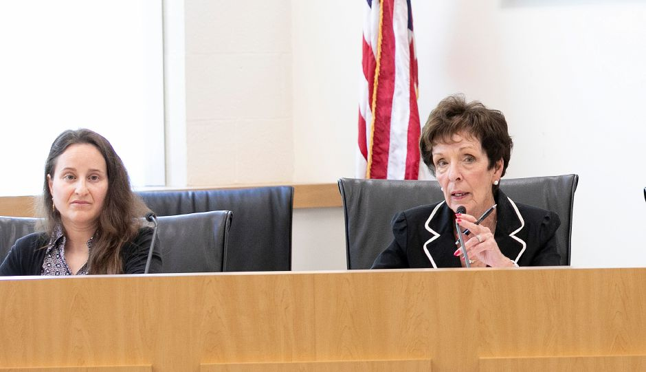 Terri Carmody, chairwoman of the school board's facility naming committee, right, speaks next to Lisa Cammuso, left, board member, during a meeting on renaming Plantsville School and South End School at the John Weichsel Municipal Center in Southington, Tues., May 21, 2019. Dave Zajac, Record-Journal