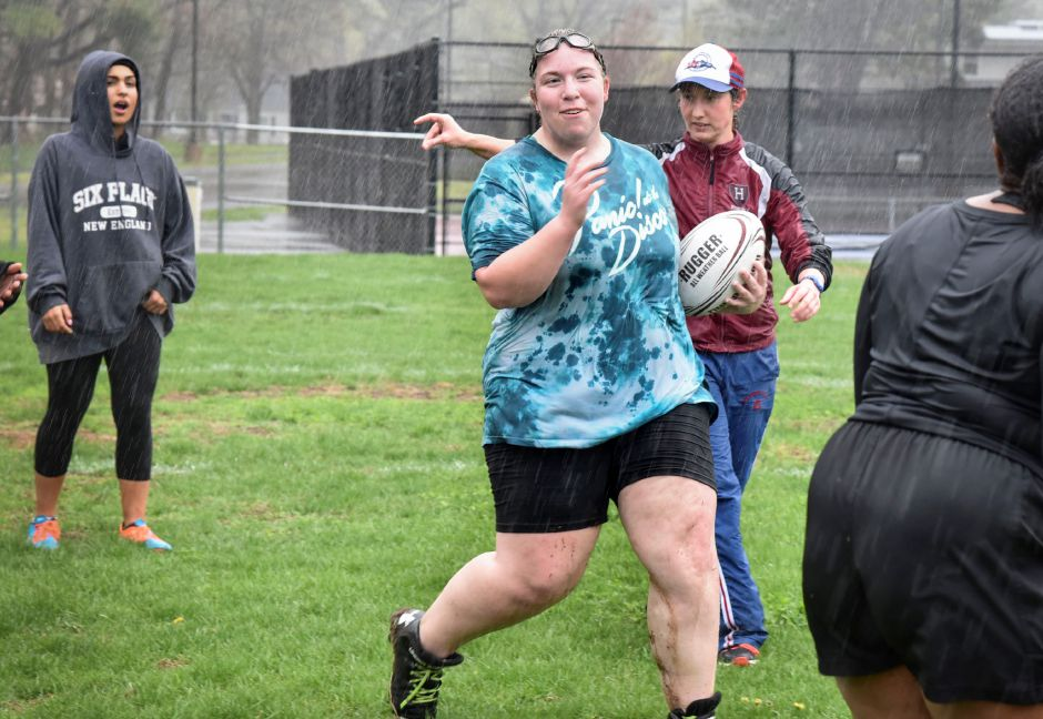 Stephanie Powell, a senior, during a North Haven Girls Rugby team practice at the athletic complex on April 22, 2019. Their next game is May 2, 4:30 p.m. at the athletic complex. | Bailey Wright, North Haven Citizen