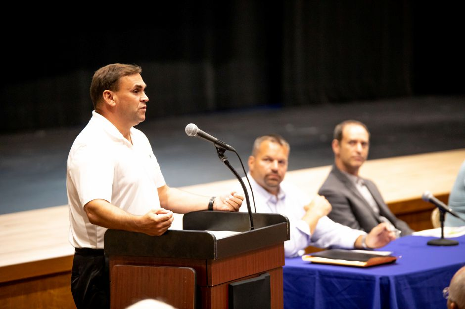 Board of Education Chairperson Matthew Tencza speaks about the findings of a study on cost savings in the Berlin school system. A draft of the results were presented at a public hearing on Sept. 6, 2018 at Berlin High School. | Devin Leith-Yessian/Berlin Citizen