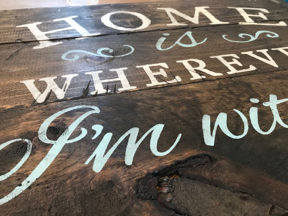 A completed painted wooden sign made at Board & Brush Creative Studio, 61 Center St., Southington. |Ashley Kus, Record-Journal