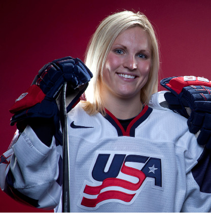 FILE - In this Oct. 2, 2013, file photo, United States Olympic hockey player Jocelyne Lamoureux poses for a portrait at the 2013 Team USA Media Summit in Park City, Utah. The U.S. women