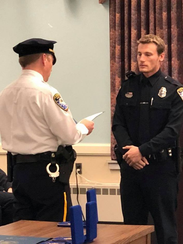 Five Cheshire officers and two dispatchers were recognized in a ceremony Tuesday for their actions during an officer-involved shooting earlier this year. | Courtesy of Cheshire Police