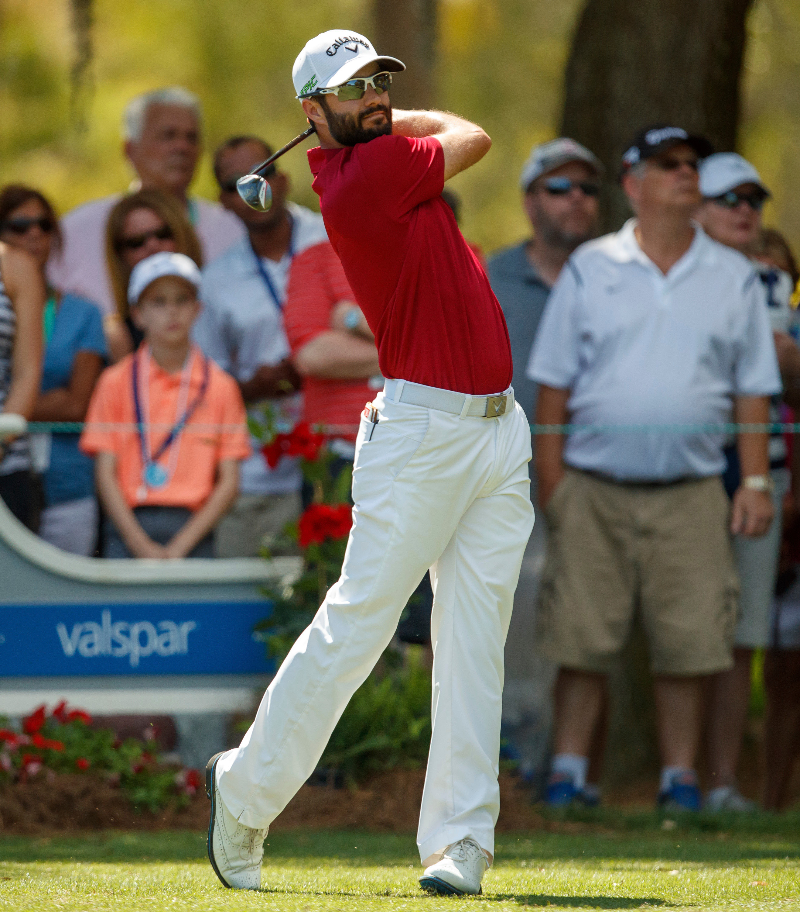 Adam Hedwin, of Canada, tees off on the 2nd hole during the third round of the Valspar Championship golf tournament Saturday, March 11, 2017, at Innisbrook in Palm Harbor, Fla. (AP Photo/Mike Carlson)