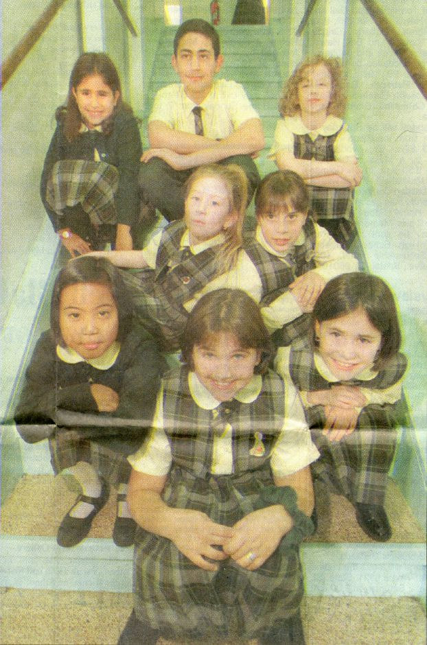 The poets from Our Lady of Mount Carmel School: First row, Amanda Ragozzino, erica Munson, Caitlyn Fitzgerald. Second row: Helen Carr, Nicole Tommasino. Third row: Cassandra Parisi, Nicholas Cerreta, Mary Coventry, November 1996.