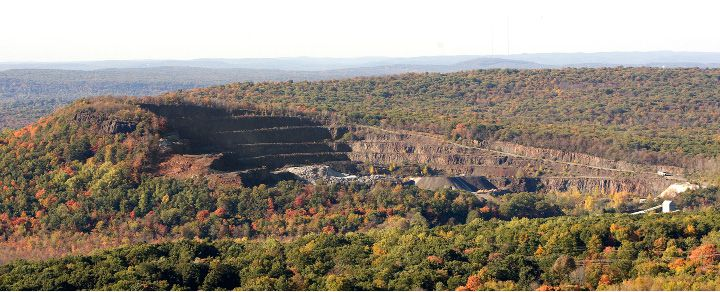 Chauncey Peak, top left, and the Suzio York Hill quarry as seen from Mount Higby in Middlefield in 2015. | File photo, Record-Journal