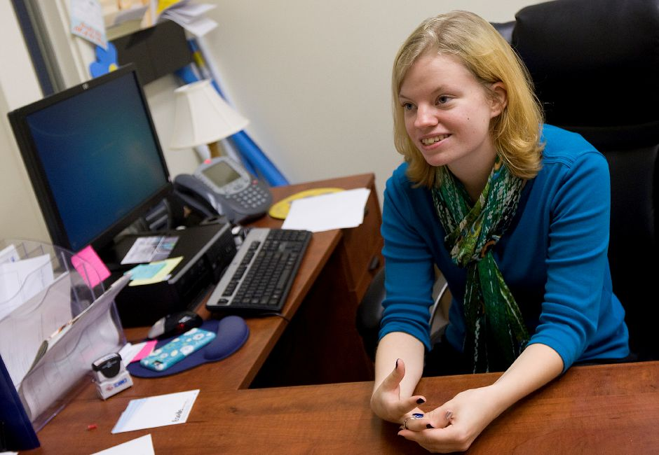 Student Meagan Edgar fills in for staff at the admissions desk at Lincoln College of New England in Southington, Tuesday, September 20, 2016. The college is celebrating 50 years in the community. | Dave Zajac, Record-Journal