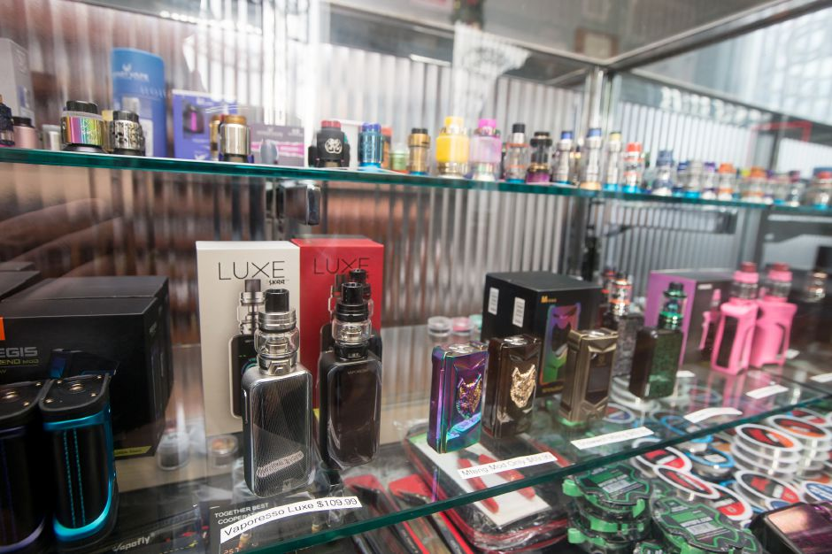 Multiple vapor products on display Wednesday at Silver City Vapors in Wallingford. The town has heard discussion on an ordinance raising the legal age limit to purchase vapor tobacco products to 21. January 2, 2019 | Justin Weekes / Special to the Record-Journal