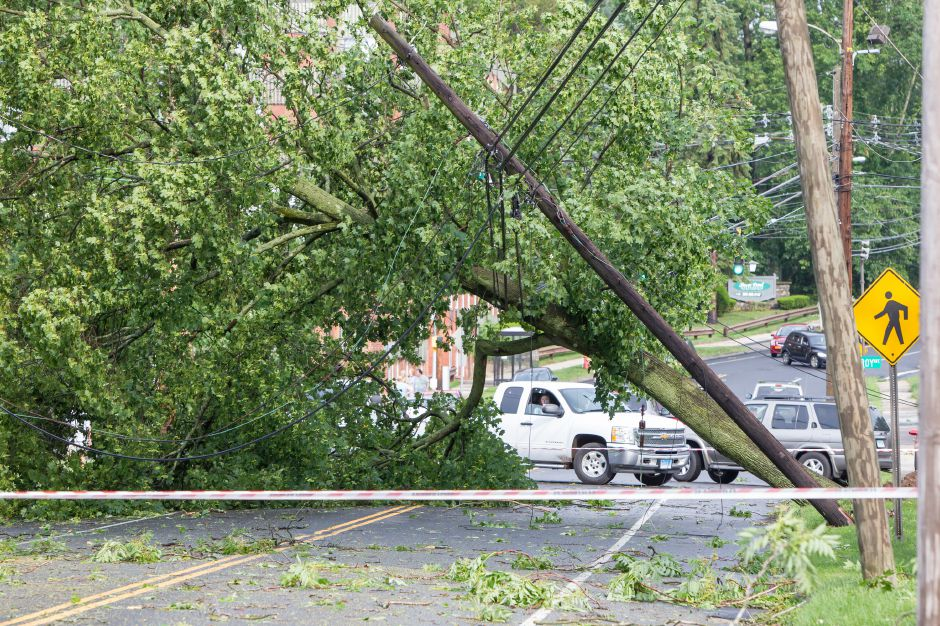 A tree fell across Center Street taking power lines down and diverting traffic Tuesday in Wallingford Jun. 23, 2015 | Justin Weekes / For the Record-Journal