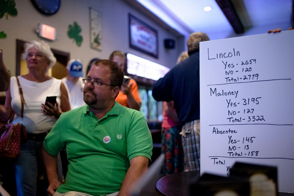 Meriden, CT - 07/18/2018: Michael Carabetta celebrates results in Maloney