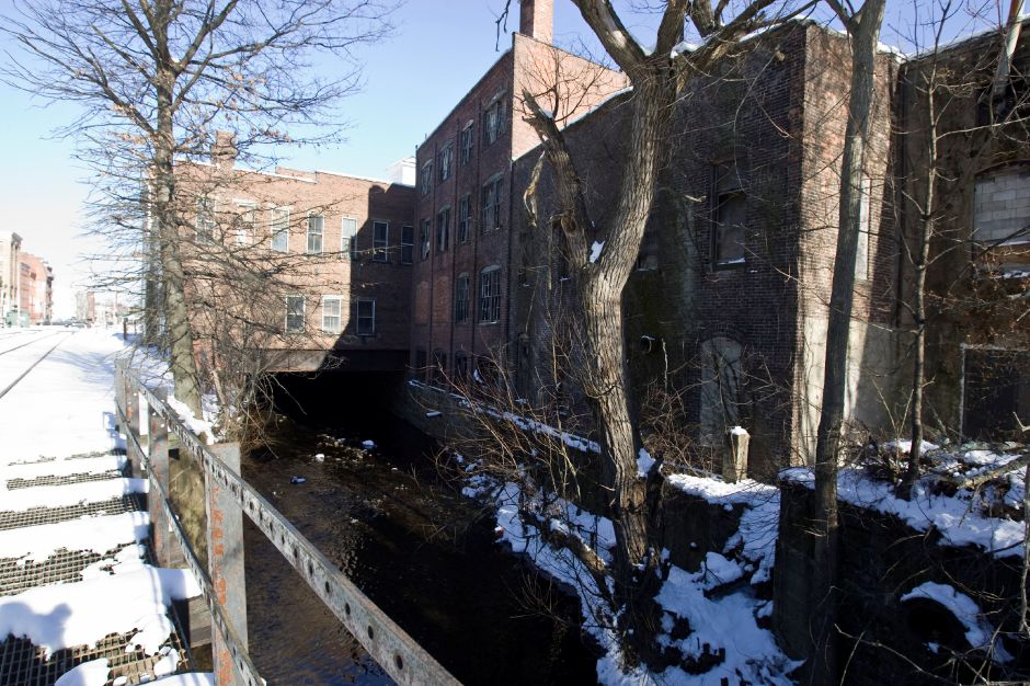 Harbor Brook flows under the former Church and Morse building on South Colony Street in Meriden, Monday, Jan. 10, 2010. The city is considering purchasing the property and to use it for flood control purposes. (Christopher Zajac/Record-Journal)