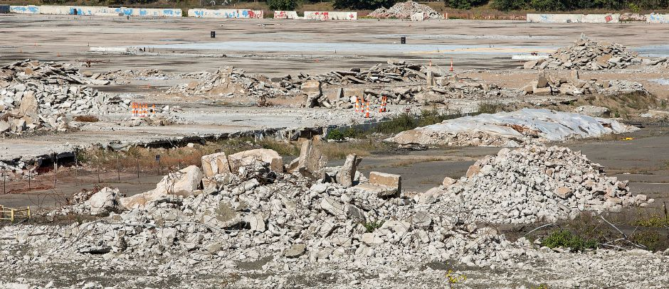 Piles of concrete on the future site of an Amazon distribution center and warehouse facility at 415 Washington Ave. in North Haven, a 168 acre property off Route 5 formerly used by Pratt & Whitney, Thursday, October 12, 2017. | Dave Zajac, Record-Journal