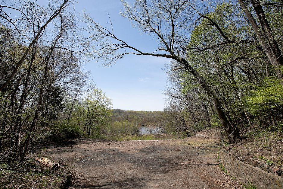 Site of the former Choate boathouse at 320 Washington St. in Wallingford, Mon., Apr. 29, 2019. Community Lake can be seen in the center of the photo. Dave Zajac, Record-Journal