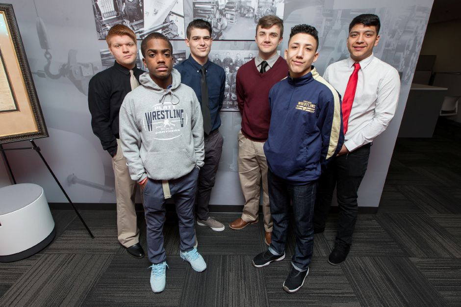Here are Meriden's representatives on the 2018-19 All-Record-Journal Wrestling Team. In front are Platt teammates Isaiah Ross, left, and James Rondini. In back, from left, are Maloney's Nikolas DeBaise and Kody Talento alongside Platt's Ryan Greene and Andy Flores. Justin Weekes, Special to the Record-Journal