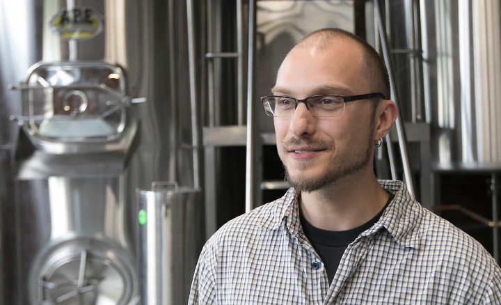 Josh Norris, co-owner of Witchdoctor Brewing Company, talks about the new business in Factory Square on Center Street in Southington, Wednesday, April 26, 2017.  | Dave Zajac, Record-Journal