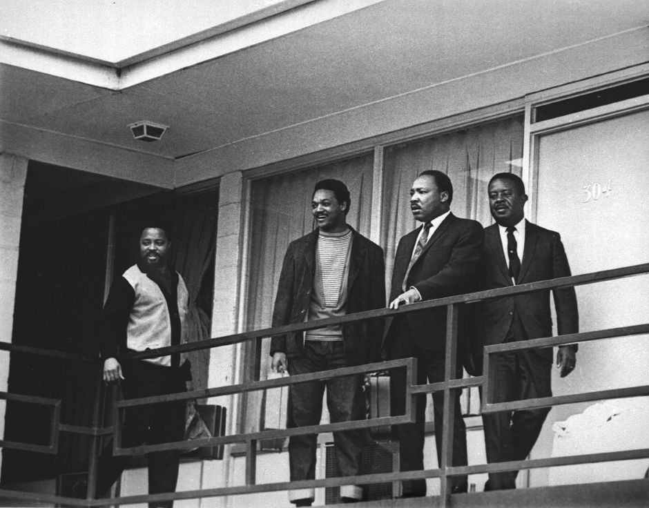 The Rev. Martin Luther King Jr. stands with other civil rights leaders on the balcony of the Lorraine Motel in Memphis, Tenn., on April 3, 1968, a day before he was assassinated at approximately the same place. From left are Hosea Williams, Jesse Jackson, King, and Ralph Abernathy. The 39-year-old Nobel Laureate was the proponent of non-violence in the 1960