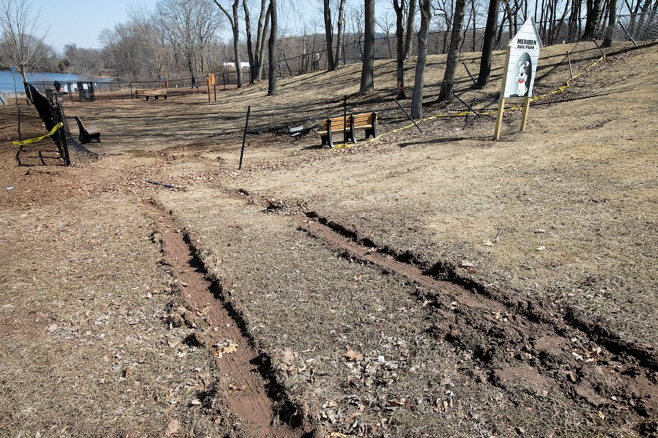 Fencing  around the small dog area of the Meriden Dog Park at Beaver Pond in Meriden was damaged in an incident involving a vehicle on March 14.
