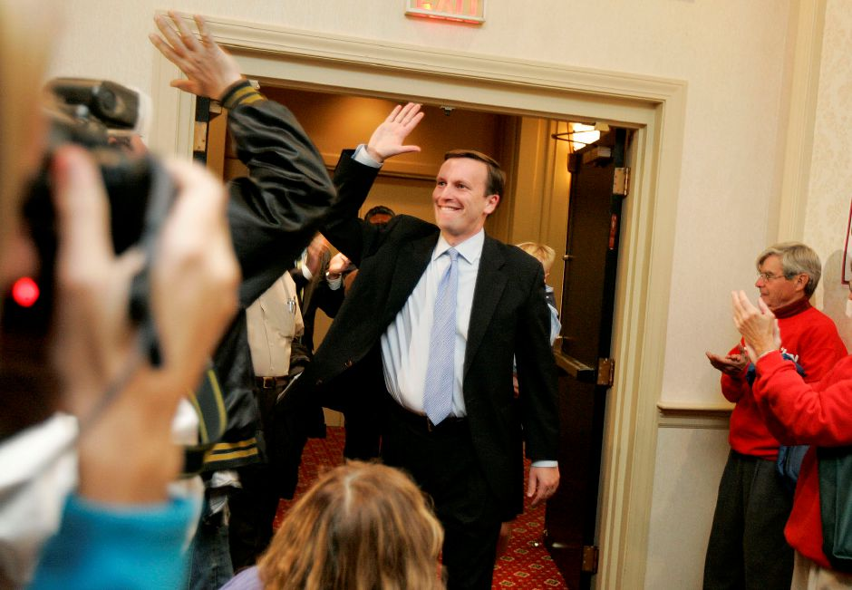 Chris Murphy, thanks his supporters at the Holiday Inn in Waterbury on Wednesday November 2, 2010 after defeating Sam Caligiuri and winning District 5. (Matt Andrew/ Record-Journal)