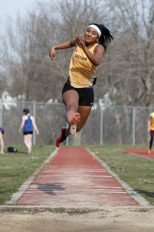 Elisa Tolentino was one of the pivotal point-getters for the Sheehan girls track team in its triumph at the Lady Titan Relays. | Justin Weekes / Special to the Record-Journal