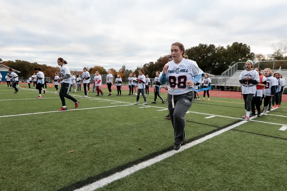 Lyman Hall warms up Sunday during Powder Puff practice at Lyman Hall High School in  Wallingford October 28, 2018 | Justin Weekes / Special to the Record-Journal
