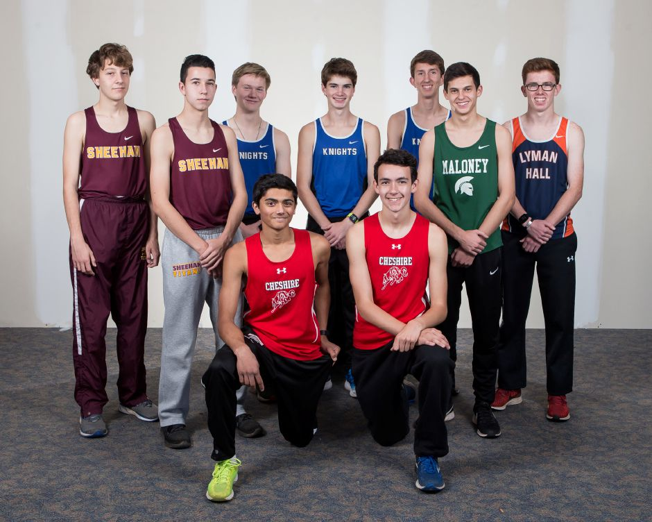 Introducing the inaugural All-Record-Journal Boys Cross Country Team. Kneeling in front are Cheshire teammates Francis Simpatico on the left and Brendan Mellitt on the right. Standing, from left to right, are Sheehan teammates Derrick Arnold and Ethan Venoit, Southington teammates Ryan Slesinski, Lucca Riccio and Matthew Penna, Maloney's Dominic Oliveri and Lyman Hall's Jack Murphy. Not pictured is Donny You of Wilcox Tech.