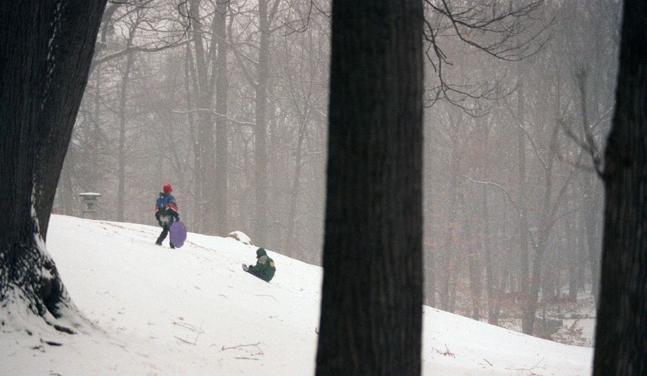 RJ file photo - Michael Sirigano, left, and Freddy Agudo, both 11, take to the slopes of Meriden