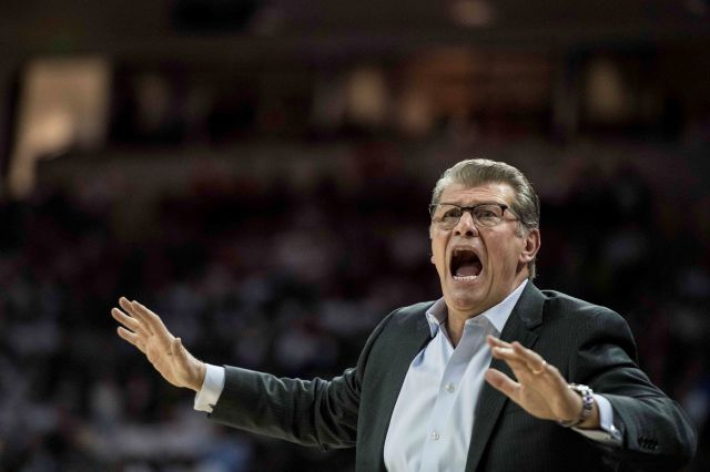 Connecticut head coach Geno Auriemma reacts to a play during the first half of an NCAA college basketball game against South Carolina Thursday, Feb. 1, 2018, in Columbia, S.C. (AP Photo/Sean Rayford)