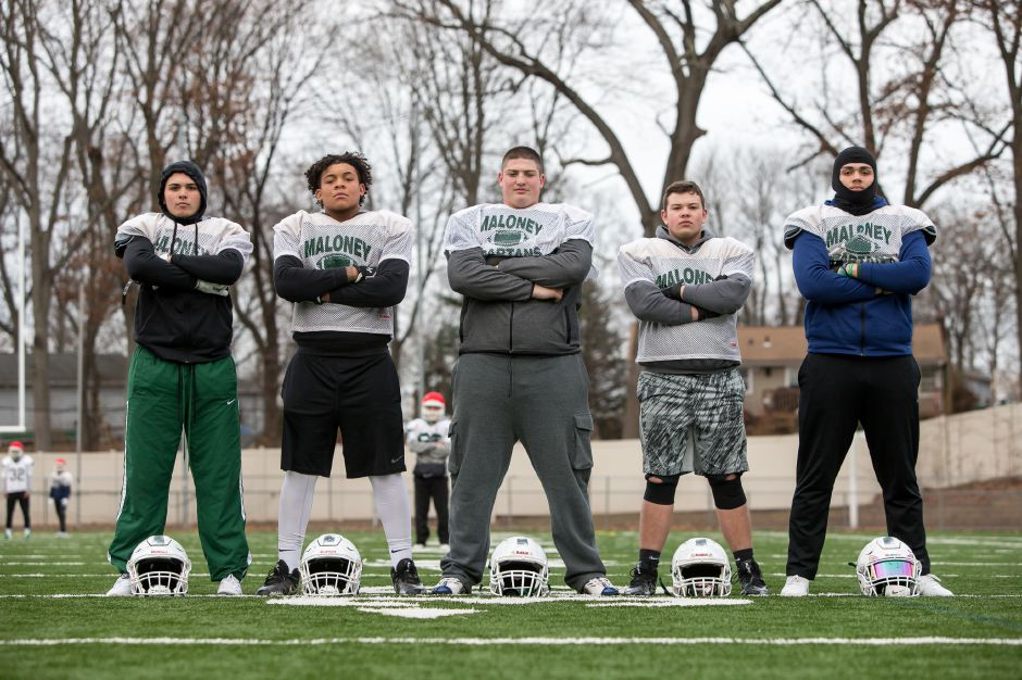 """We have a bond; we are a brotherhood."" Maloney's push to the Class L championship game starts up front with the offensive line of, left to right, Toby Canales, D.J Posey, Ryan Martel, Max Ganter and Trevor Santiago. 