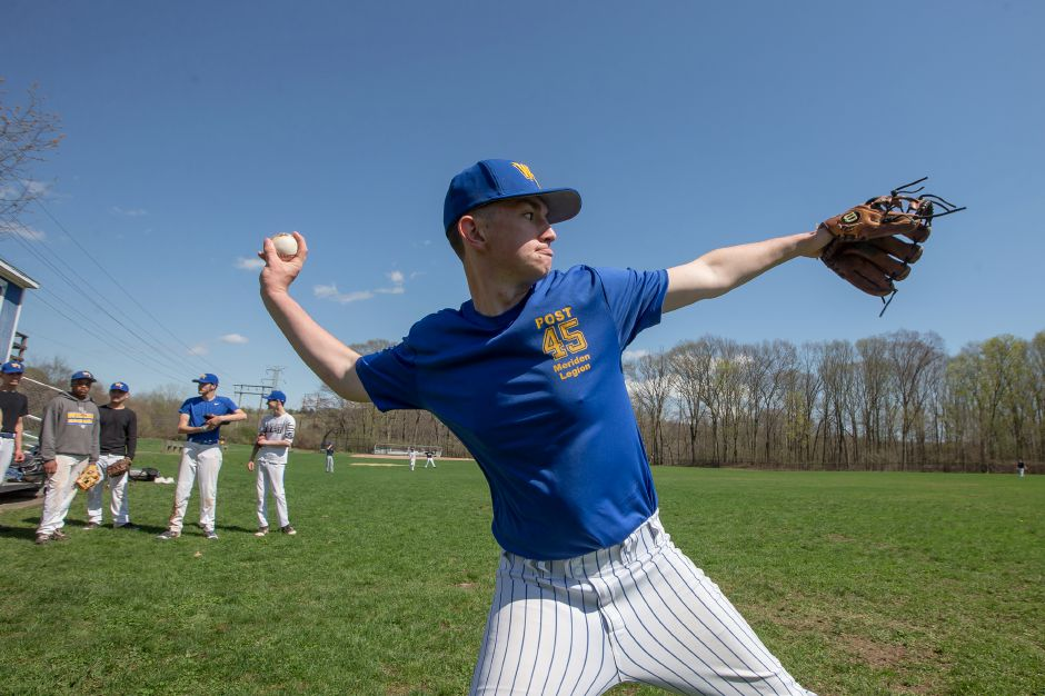 Wilcox Tech pitcher/first baseman Brian Carabetta warms up during practice after Tuesday's scheduled home game with Platt Tech was postponed. Carabetta and the Indians are riding a six-game winning streak that has featured four straight shutouts. | Justin Weekes / Special to the Record-Journal