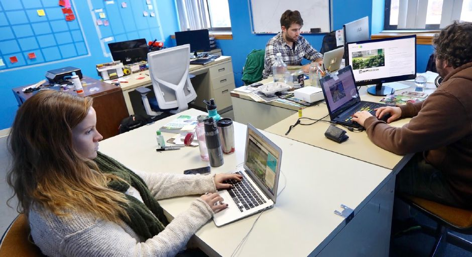 Left to right, Anne St. Hilaire, director of marketing, Spencer Curry, CEO and co-founder, and Kieran Foran, chief marketing officer and farm manager, monitor sales during Cyber Monday at Trifecta Ecosystems in Meriden, Monday, November 27, 2017. | Dave Zajac, Record-Journal