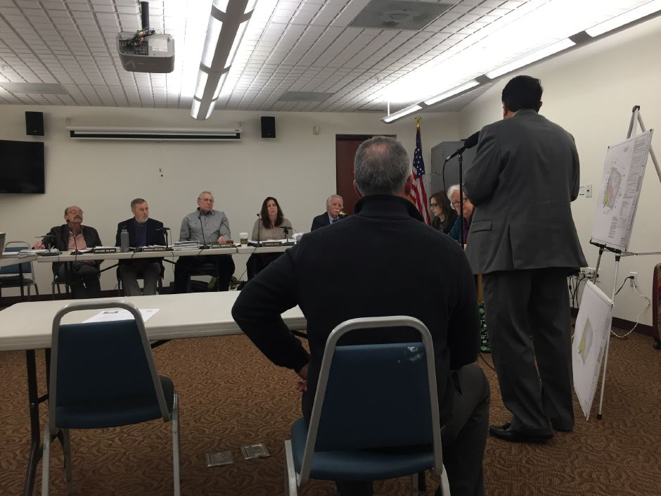 The North Haven Planning and Zoning Commission hears a site plan proposal from representatives for DB Mart and Gulf Gas Station on Quinnipiac Avenue, on April 1, 2019. | Bailey Wright, Record-Journal