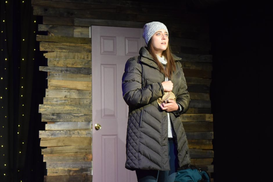 "Katie Kirtland rehearses for the Castle Craig Players latest production, ""Almost, Maine."""