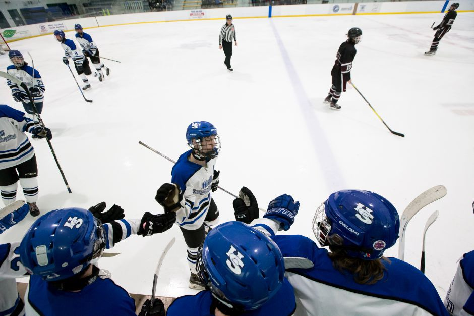 Hall-Southington bench celebrates Jacob Albert goal Saturday at Veterans Memorial Rink in West Hartford January 13, 2018 | Justin Weekes / Special to the Record-Journal
