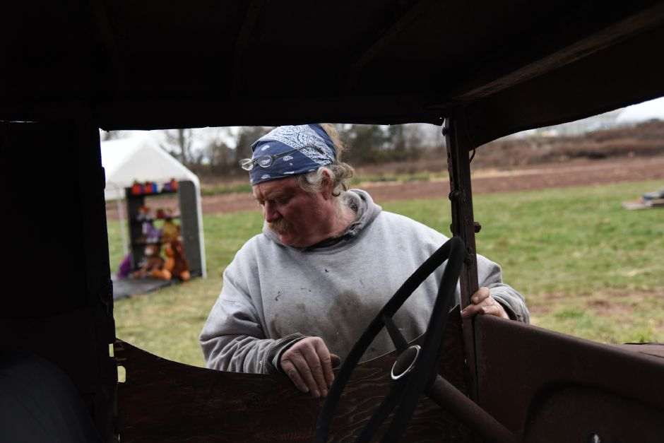 "Beaumont Farms owner Billy Beaumont prepares the farm's annual Christmas display on Friday, Dec. 8, 2017. This year's display pays tribute to the 1970 animated Christmas movie, ""Santa Claus Is Comin' to Town. 