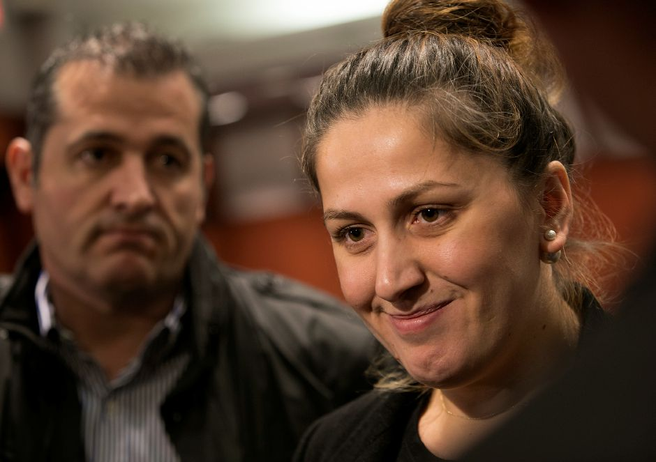 Denada Rondos smiles during an appearance at the Legislative Office Building in Hartford Monday, November 13, 2017. The Department of Homeland Security issued a forbearance that stated ICE won't act to deport Rondos while her appeal is being reviewed by the Second Circuit Court of Appeals. | Dave Zajac, Record-Journal