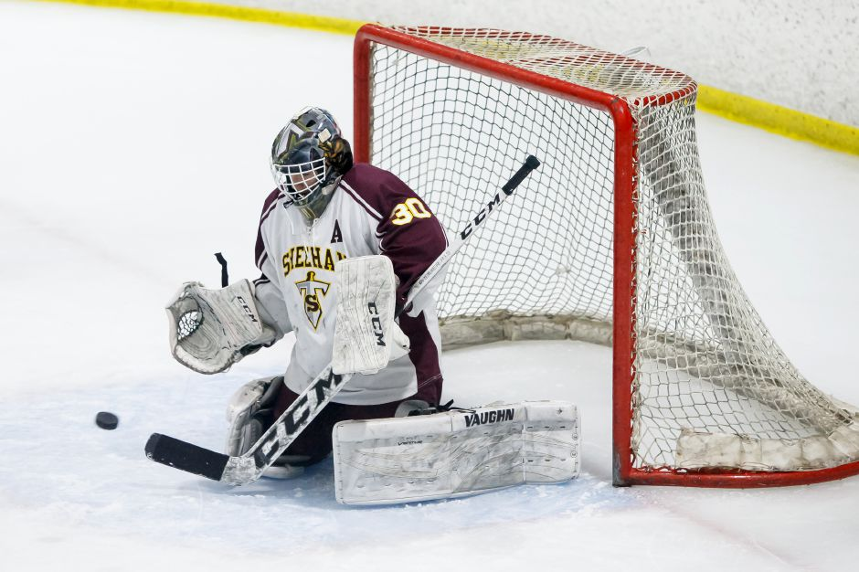 Tyler Robertson was solid in net for Sheehan Thursday night in the CIAC Division III quarterfinals at the Northford Ice Pavilion. The problem was, the Titans couldn't dent the net at the other end and suffered a season-ending 3-0 loss to the Eastern Connecticut Eagles. | Justin Weekes / Special to the Record-Journal