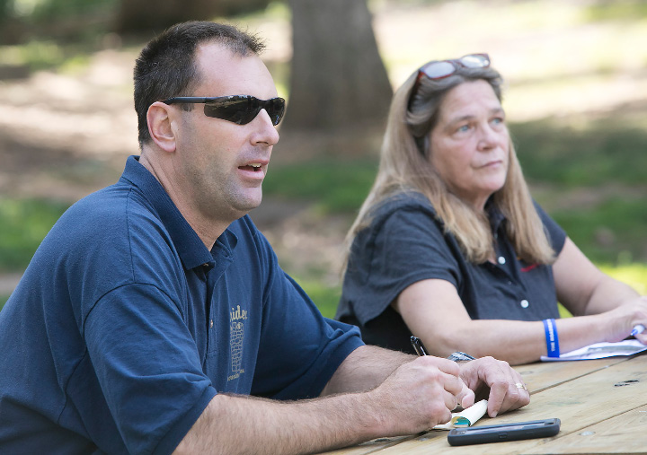 Chris Bourdon, director of Parks & Recreation, talks with Bonnie Lagocki, right, and other members of The Roadway of Hope CT who are planning the second annual Rally for Hope at Hubbard Park, Friday, August 25, 2017. The Rally for Hope takes place at Hubbard Park Saturday, August 26 from 2pm-8pm.    | Dave Zajac, Record-Journal