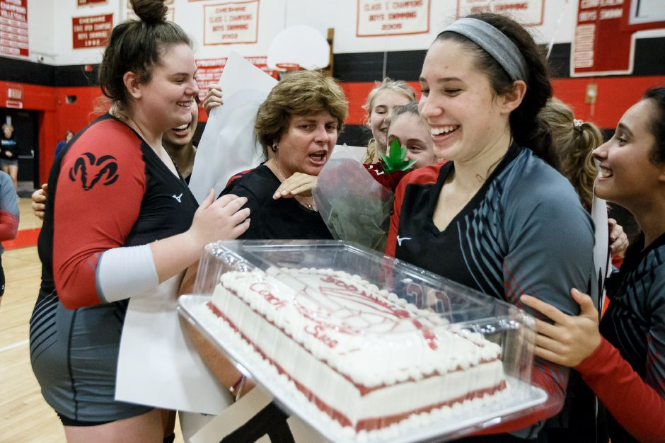 Cheshire celebrates head coach Sue Bavone