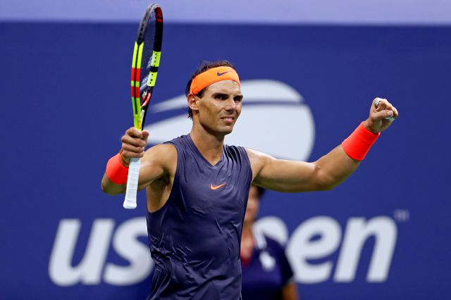 Rafael Nadal, of Spain, celebrates after defeating Dominic Thiem, of Austria, during the quarterfinals of the U.S. Open tennis tournament, early Wednesday, Sept. 5, 2018, in New York. (AP Photo/Adam Hunger)