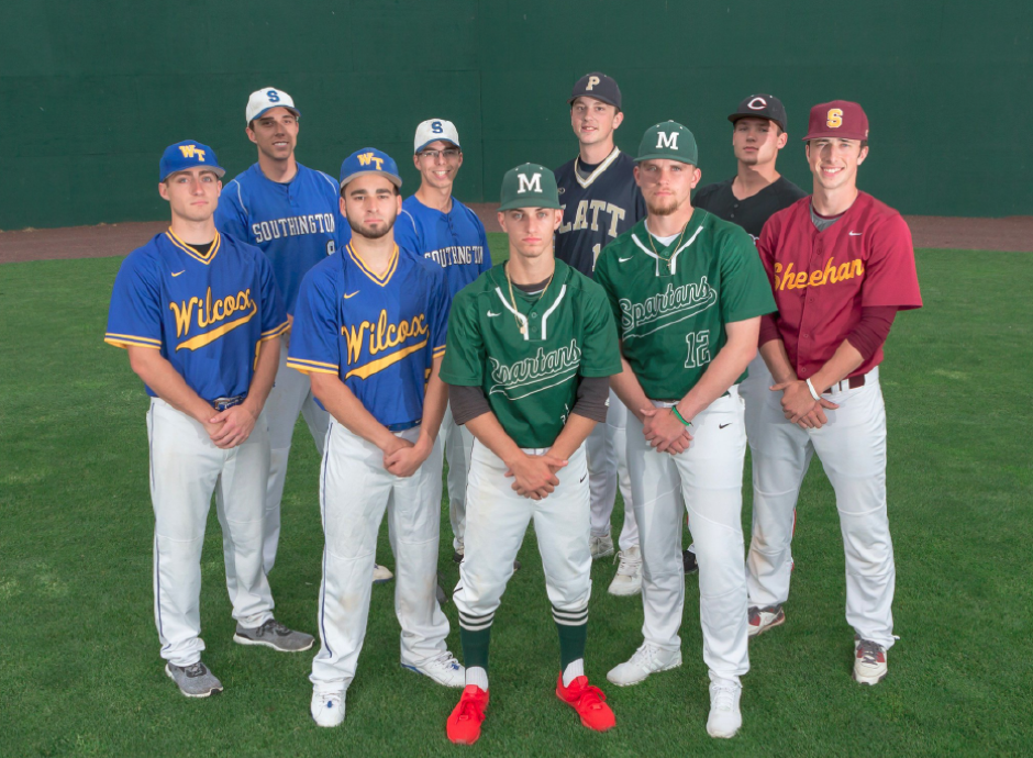 The 2017 All-Record-Journal baseball team front left Jakob Thiede, Sebby Grignano and Jeff Massicotte rear left Jack Rich, John Mikosz, Jon Gray Carson Coon, Ben DeLaubel and Kyle Brennan Friday at New Britian Stadium in New Britian May. 26, 2017 | Justin Weekes / For the Record-Journal
