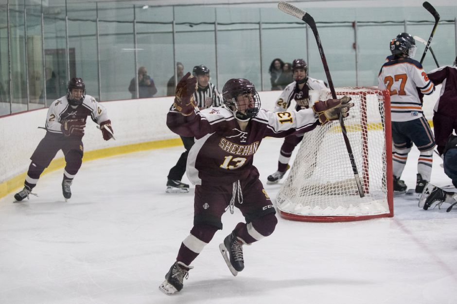 Luke Festa scored two second-period goals Saturday night to send the Sheehan hockey team on its way to a 5-1 victory over the Lyman Hall Co-op at the Northford Ice Pavilion. | Justin Weekes / Special to the Record-Journal