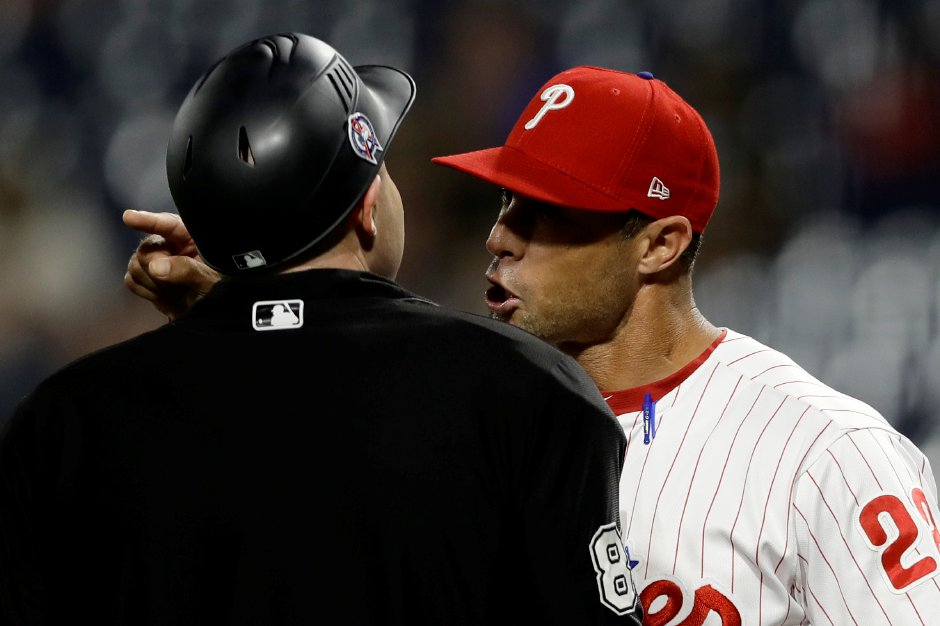 Phillies manager Gabe Kapler argues with umpire Mike Estabrook during a game against Washington on Sept. 11 in Philadelphia. Kapler has lost his home in Malibu, California to the wildfire that has killed at least 44 people and left hundreds more missing.