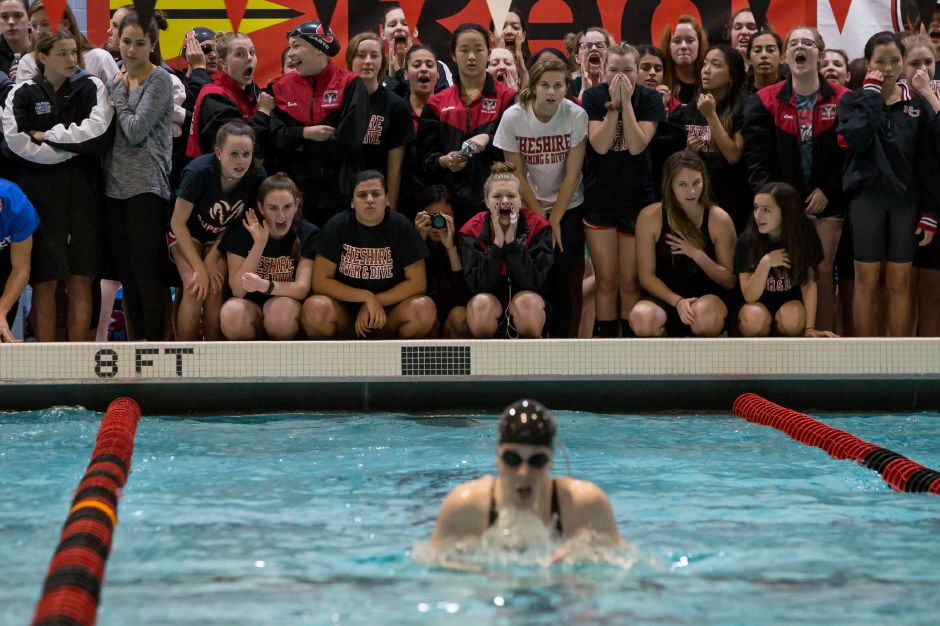 Cheshire cheers for Elizabeth Boyer Wednesday during the CIAC Class L swimming finals at the Freeman Athletic Center Natatorium on the campus of Wesleyan University in Middletown November 15, 2017 | Justin Weekes / For the Record-Journal