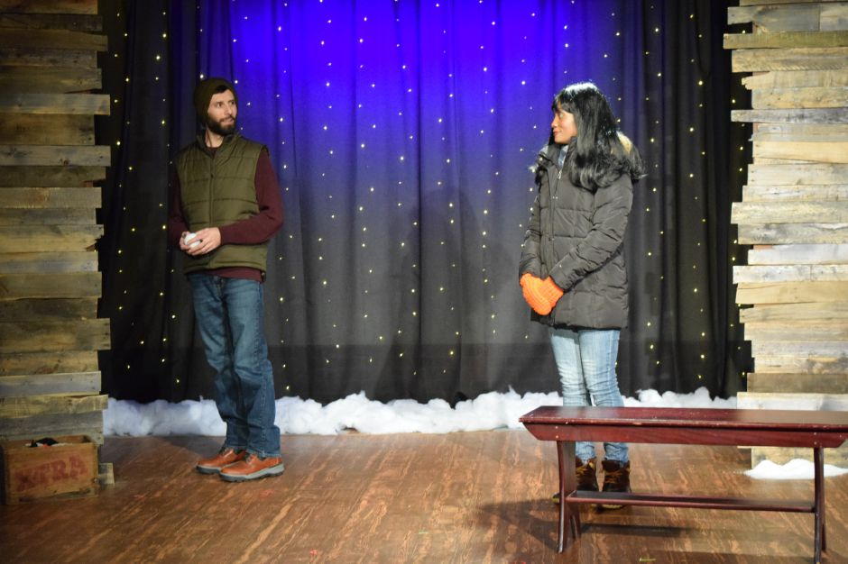 "Jamie Reopell and Kathy Wade rehearse for the Castle Craig Players latest production, ""Almost, Maine,"" on Thursday, Nov. 7, 2019. The play opens Nov. 8 and runs through Nov. 17 in Meriden. 