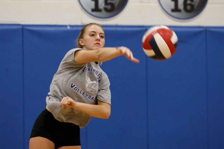 With their 3-0 sweep in Hebron on Monday night, Haley Larrabee and the Southington volleyball team improved to 5-0 and ended RHAM's 46-match winning streak. | Justin Weekes / Special to the Record-Journal