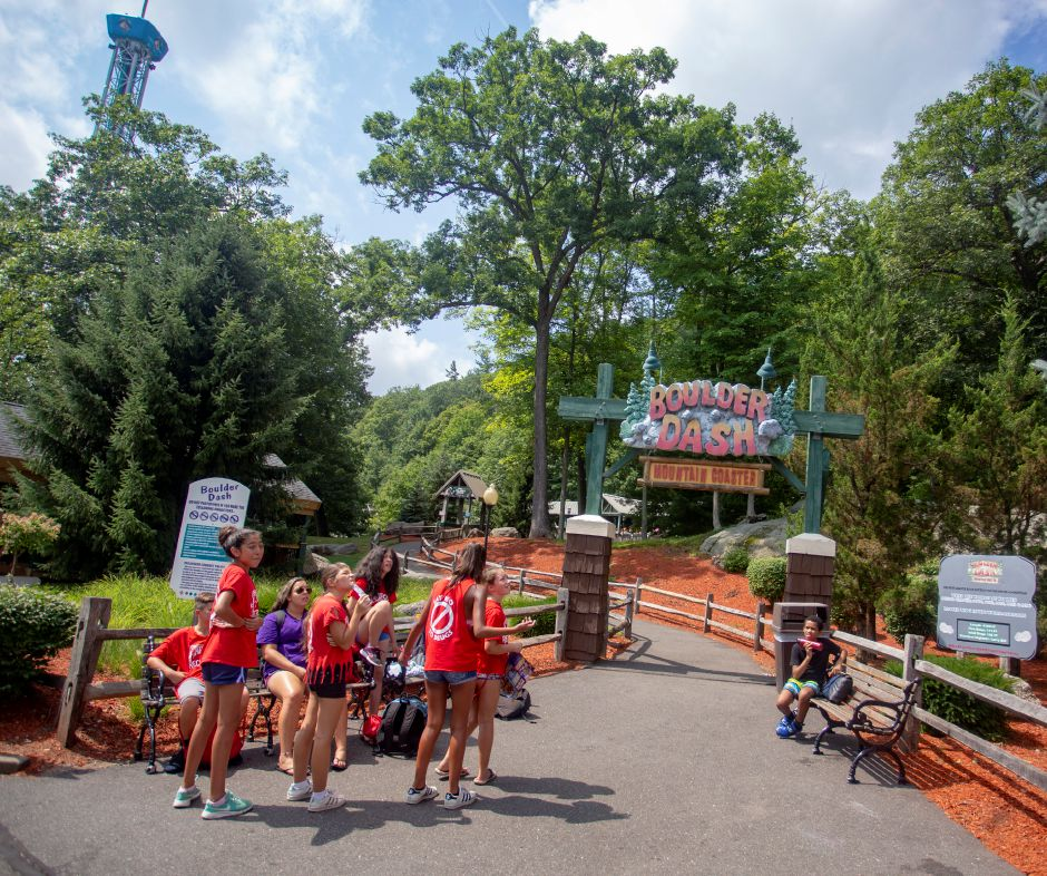 Park goers gather near the entrance to Boulder Dash at Lake Compounce Aug. 8, 2018. | Richie Rathsack, Record-Journal