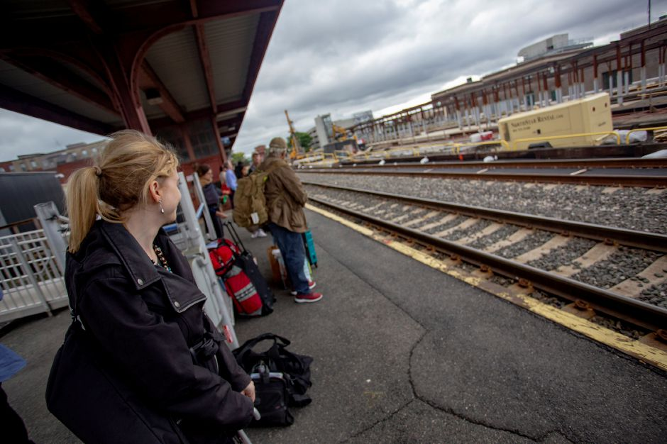 Record-Journal Digital Content Producer Ashley Kus waits at the Springfield train station for a train back to Meriden after a day at the new MGM Springfield Casino Sept. 28, 2018. | Richie Rathsack, Record-Journal