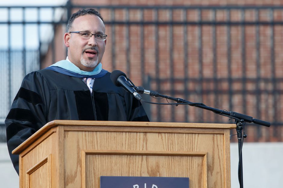 Dr. Miguel Cardona delivers the greeting Friday during the Platt High School Commencement ceremony at Platt High School in Meriden June 15, 2018 | Justin Weekes / Special to the Record-Journal