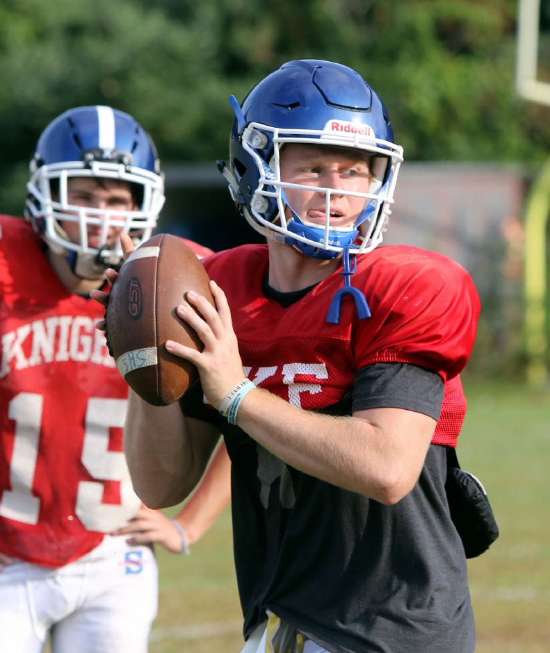 Southington's Shane LaPorte works out at quarterback during a recent practice. Aaron Flaum, Record-Journal