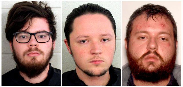 These undated photos provided by Floyd County, Ga., Police show from left, Luke Austin Lane of Floyd County, Jacob Kaderli of Dacula, and Michael Helterbrand of Dalton, Ga. FBI spokesman Kevin Rowson said Friday, Jan 20, 2020, that agents assisted in the arrests of the three Georgia men linked to The Base, a violent white supremacist group, on charges of conspiracy to commit murder and participating in a criminal street gang. Details of their cases have been sealed by a judge, Floyd...