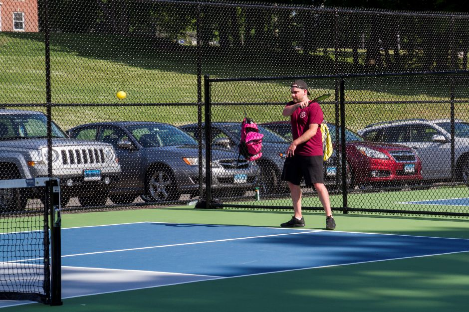 Tracey Harrington/Cheshire HeraldSeveral players took to the newly-opened tennis/pickleball courts at Cheshire Park on Saturday, June 20.